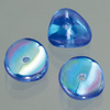 glass bead nuggets blue AB, 4 x 9 mm, 30 pcs.