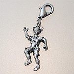 charm: boy platinium with carabiner, 26 mm