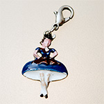 charm: dancing girl blue with carabiner, 26 mm