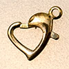 "carabiner ""heart"" 12x9mm, gold coloured"