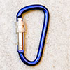 spring hook / carabiner 62mm with screw one-point secured, blue