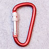 spring hook / carabiner 62mm with screw one-point secured, red