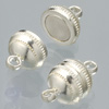 Magnetic clasps, silver, ball