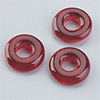 "glas bead ""ring"" big whole red, 3 x 10mm, 12 pcs."