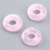 "glas bead ""ring"" big whole light pink opal, 3 x 10mm, 12 pcs."