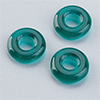 "glas bead ""ring"" big whole green, 3 x 10mm, 12 pcs."