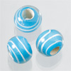 "glass beads Big hole ""stripes"" light turquoise, 1 bead"