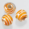 "glass beads Big hole ""stripes"" orange, 1 pearl"
